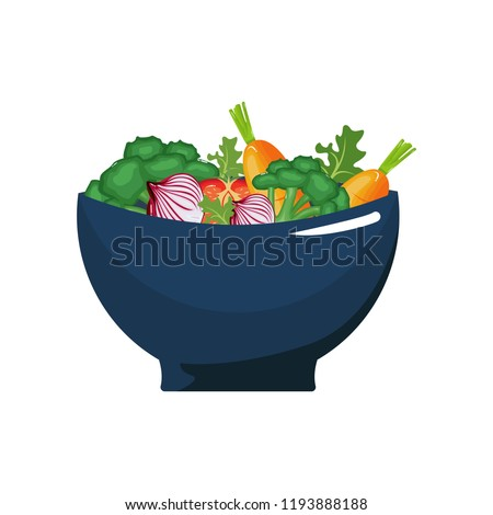 Mixed Vegetable Natural Healthy Food in Bowl Flat Illustration #1193888188