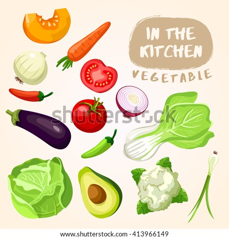 Mixed Vegetable : Vegetable Isolated Set : Vector Illustration