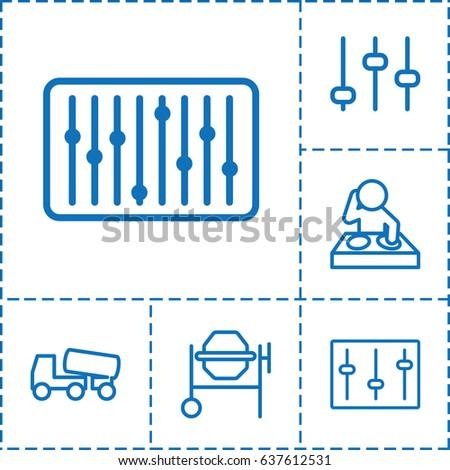 mixer icon set of 6 mixer