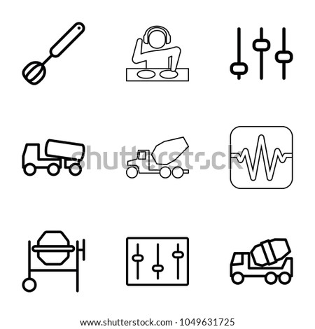 Mixer icons. set of 9 editable outline mixer icons such as concrete mixer, adjust, sliders, corolla, dj