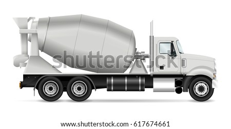Mixer truck vector illustration, view from side. Template for corporate identity, branding and advertising. All layers and groups well organized for easy editing and recolor.
