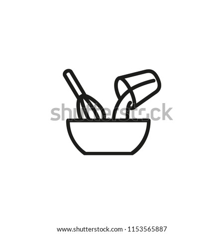 Mixing ingredients line icon. Pouring, whipping, whisk. Kitchen utensils concept. Vector illustration can be used for topics like bakery, making cake, recipe