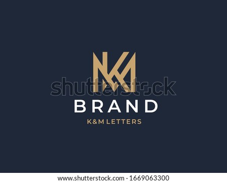 mk or km monogram of two