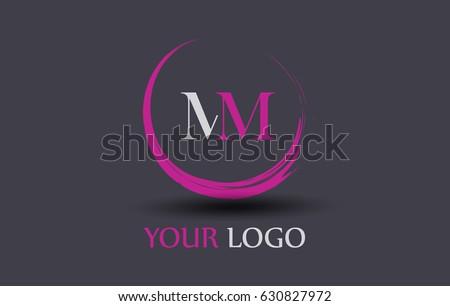 mm letter logo circular purple