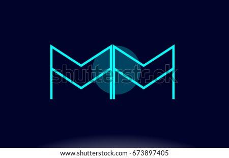 mm m m blue line circle letter