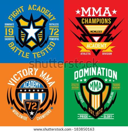 mma fight academy emblem set