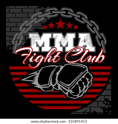 MMA mixed martial arts emblem badges on a black background. Vector emblem.
