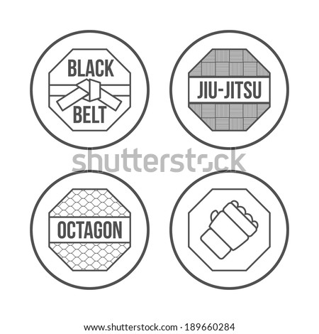 MMA Sport icons set Thin Line Style Vector