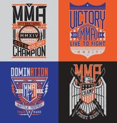 MMA t-shirt design emblem set