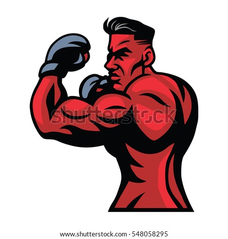 mma ufc fighter mascot vector