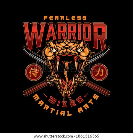 MMA vintage colorful japanese logotype with scary snake head and crossed katanas isolated vector illustration
