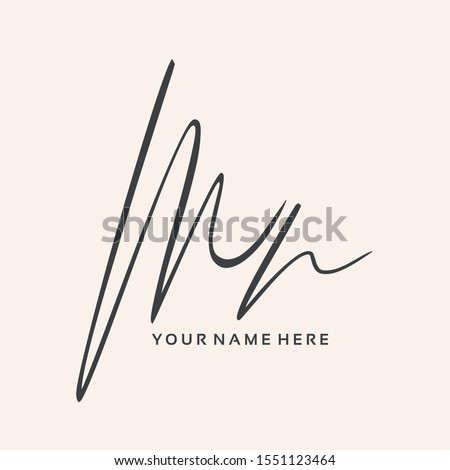MN monogram logo.Signature style typographic icon with script letter m and letter n.Lettering sign isolated on light background.Calligraphic hand drawn alphabet initials.Modern, elegant style.
