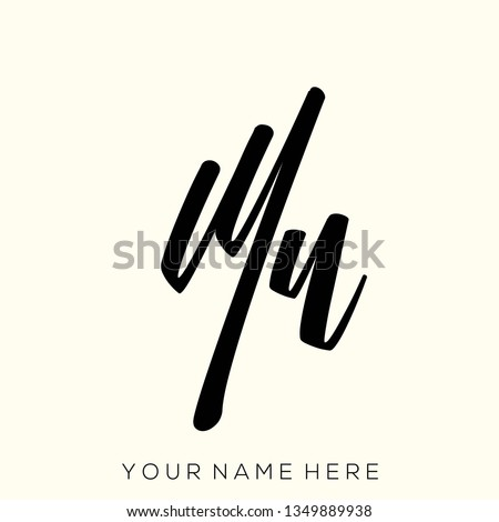 MN monogram.Signature style typographic logo with script letter m and letter n.Handwritten lettering icon isolated on light color background.Calligraphic sign.