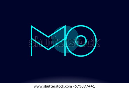 mo m o blue line circle letter logo alphabet creative company vector icon design template Foto stock ©