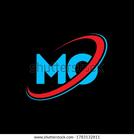 MO M O letter logo design. Initial letter MO linked circle uppercase monogram logo red and blue. MO logo, M O design. mo, m o, Foto stock ©