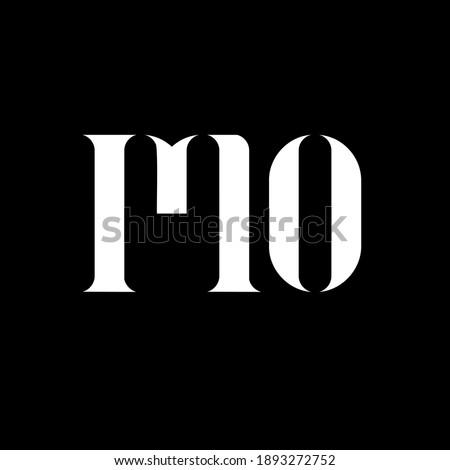 MO M O letter logo design. Initial letter MO uppercase monogram logo white color. MO logo, M O design. MO, M O Foto stock ©