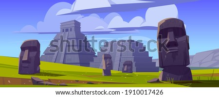 Moai statues and pyramids, republic of Chile travel famous landmarks stone heads on green field of Easter Island or Rapa Nui, symbol of South America archaeology monument cartoon vector illustration Сток-фото ©