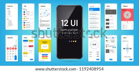Mobil app interface. Ui, ux screen wireframe templates. Touchscreen application vector design. Illustration of ui application touchscreen, mock-up and gui, widget smartphone