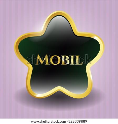 Mobil gold shiny badge