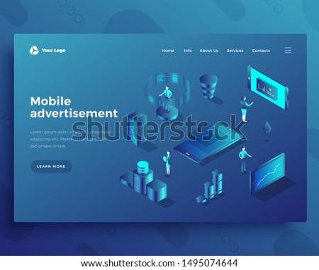 Mobile advertisement isometric landing page template. Smartphone apps adverts web banner. Mobile application promotional content generation. Cell phone commercials creation website design layout