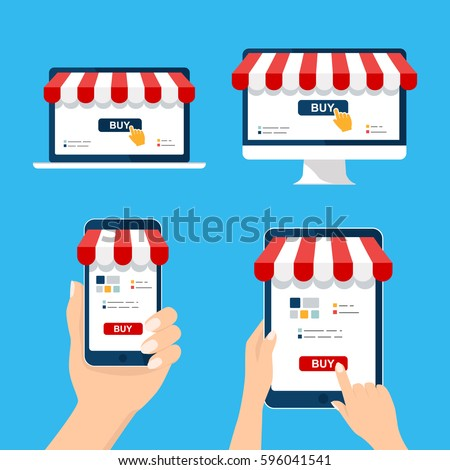 Mobile and online shop concept. Hand holding and Touch tablet computer device set Digital Marketing, store. Striped awning computer, laptop, phone screen buy. Vector cartoon flat illustration
