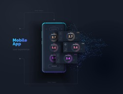 Mobile app. A mobile device with a user interface layout with active blocks in layers. User experience design. Vector illustration.