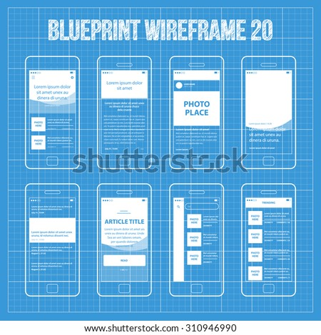 Royalty free blueprint wireframe mobile app ui kit 215335678 mobile app blueprint wireframe ui kit 20 article post main screen article read screen malvernweather Images