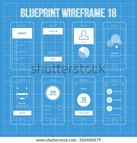 Royalty free mobile app blueprint wireframe ui kit 287397029 mobile app blueprint wireframe ui kit 18 events screen calendar screen piechart statistic malvernweather Image collections