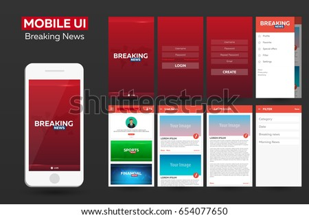 Mobile app Breaking News Material Design UI, UX, GUI. Responsive website