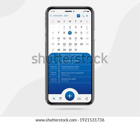 Mobile app calendar planner concept, Activity calendar template UI UX, Smartphone calendar schedule agenda annual planning meeting application, Calendar events, Appointment, Event app, Vector phone