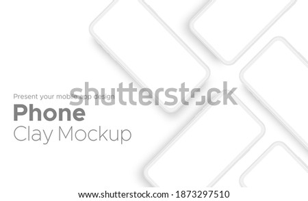 Mobile App Design Clay Phone Showcase Mockup With Space for Text Isolated on White Background. Vector Illustration Сток-фото ©