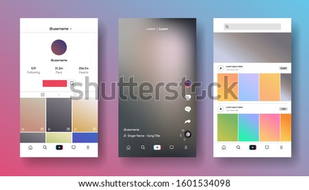 Mobile app design inspired by Tik Tok style. Teen social media for making story, music video, blogging. Blog application interface. Streaming service screen. Vector illustration Stockfoto ©