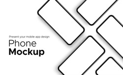 Mobile app design phone showcase mockup with space for text isolated on white background. Vector illustration