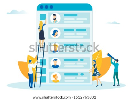 Mobile App Design Process Flat Vector Illustration. Graphic Designers, Developers Cartoon Characters. Men and Women Developing User Interface layout.