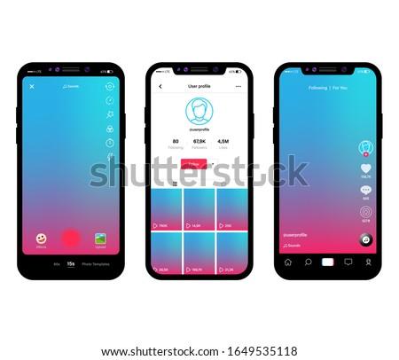 Mobile app design. Social media frame template mobile interface, ui, app, web. Phone, mobile, smartphone, mockup. Stockfoto ©