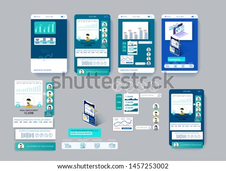 Mobile app design. Statistical and analytical data on your earnings and financial transactions. Detailed flat illustration. Infographics and visualization
