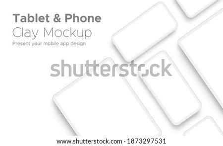 Mobile App Design Tablet Computer and Smartphone Clay Mockup With Space for Text Isolated on White Background. Vector Illustration Сток-фото ©