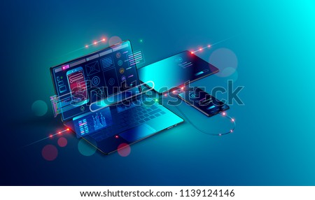 Mobile app development and design. Sketch layout of mobile application debug on smartphone and tablet. Testing usability interface website or software for different devices. Vector isometric concept.