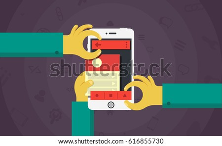 Mobile app development concept, mobile application building process vector illustration