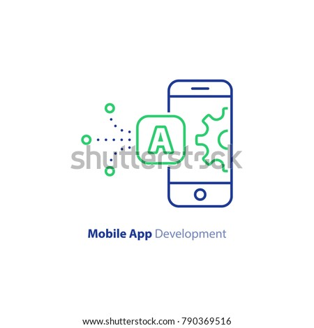 Mobile app development concept, smartphone technology, system upgrade, vector line icon