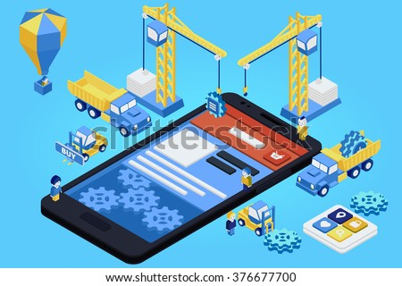 Mobile App Development, Experienced Team. Flat 3d isometric. Vector illustration