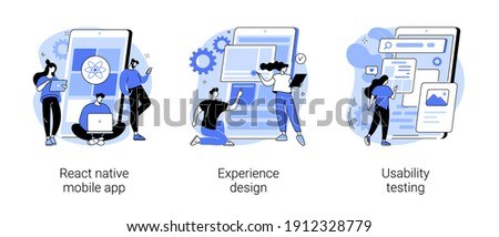 Mobile app development process abstract concept vector illustration set. React native mobile app, experience design, usability testing, user interface, software architecture abstract metaphor.