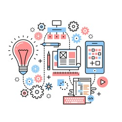 Mobile app development process concept. From big idea to actual release through project analysis, design, software development. Modern thin line icons art work collage. Linear background illustration.