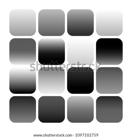 Mobile app icon templates set. Black and  white color minimal abstract backgrounds, gray gradients. Flat button design. Vector templates for mobile application logo, for smartphone and devices. EPS 10 #1097102759