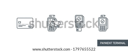 mobile app icons set contactless payment by credit debit card via the bank terminal banner isolated on white. outline payment method symbols. Quality elements Acquiring payment with editable Stroke