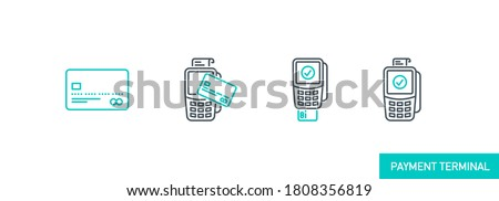 mobile app icons set contactless payment by credit debit card via the bank terminal banner isolated on white. outline payment method symbols. Quality elements Acquiring payment with editable Stroke Stockfoto ©