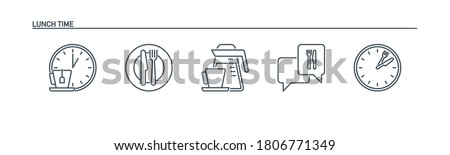 mobile app icons set food banner isolated on white. outline app symbols lunch break. Quality elements plate, cutlery: fork and knife, clock, kettle, coffee pot, cup, speech bubble with editable Stroke Foto stock ©