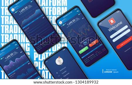 Mobile app infographic template with modern design. Smartphone mock-up on blue gradient background. Mobile app design concept. Vector