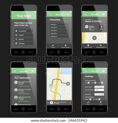 Mobile app layout design. Editable EPS vector.