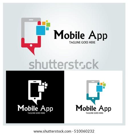 Mobile app logo design template ,Vector illustration